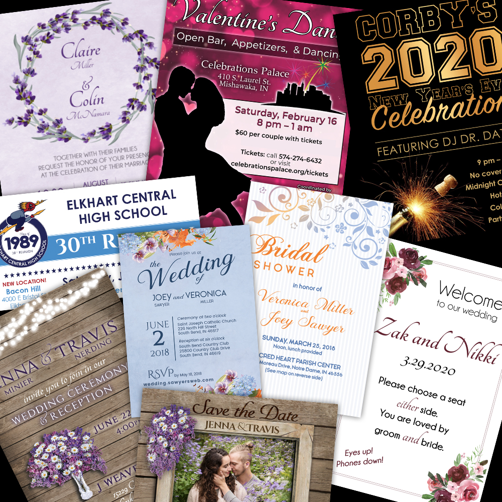 custom wedding invitations, signs, save the dates